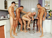 Gay Orgy GroupSex : Kitchen Party - Jason Visconti -amp; Jimmy Visconti -amp; Joey Visconti -amp; Joe Justice!
