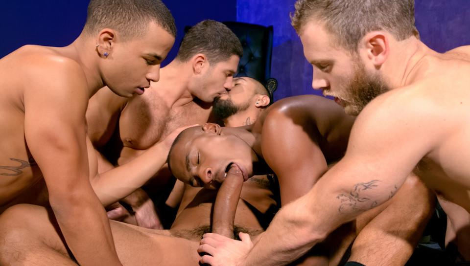 Interracial gay orgy