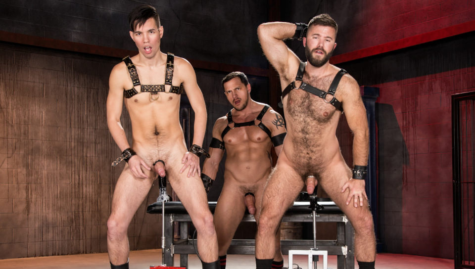 Oral Sex, Anal Sex, Buttplay, Sex Toys, Fuck Machines, Uncut, Group Sex, Hairy, Tattoos, Daddies, Big Cock, Jockstrap, Ass Shot, Muscle Men, Gay Porn, Club Inferno Dungeon, Gage Lennox, Joey D, Issac Lin