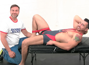 Gay Muscle Men : Ankle to Thigh Restraint!